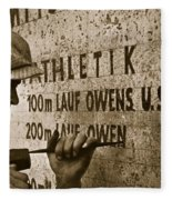 Carving The Name Of Jesse Owens Into The Champions Plinth At The 1936 Summer Olympics In Berlin Fleece Blanket