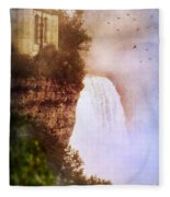 Castle At The Edge Of The Falls Fleece Blanket