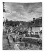 Castle Combe England Monochrome Fleece Blanket