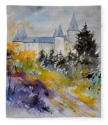 Castle Of Veves Belgium Fleece Blanket