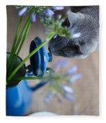 Cat And Flowers Fleece Blanket