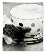 Cat And Mouse Coffee Fleece Blanket