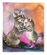 Cat And Mouse Reunited Fleece Blanket