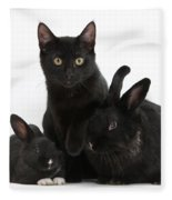 Cat And Rabbits Fleece Blanket