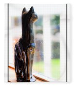 Cat At The Window Fleece Blanket