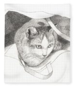 Cat In A Bag Fleece Blanket