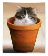 Cat In A Pot Fleece Blanket