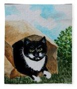 Cat In The Bag Fleece Blanket