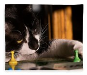 Cat Playing A Game Fleece Blanket
