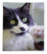 Cat Reaches For Camera Fleece Blanket