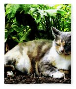 Cat Relaxing In Garden Fleece Blanket