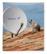Cat Sat Fleece Blanket