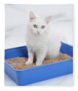 Cat Using Litter Tray Fleece Blanket