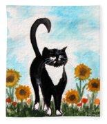 Cat Walk Through The Sunflowers Fleece Blanket