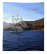 Catalina Shoreline Ghost Ship Fleece Blanket