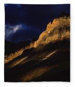 Cathedral Crags At Dusk, Yoho National Fleece Blanket