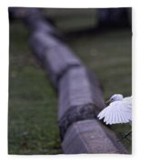 Cattle Egret Landing Fleece Blanket