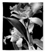 Cattleya - Bw Fleece Blanket