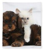 Cavapoo Pup And Blue-point Kitten Fleece Blanket