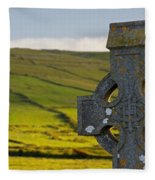 Celtic Cross In A Cemetery Fleece Blanket