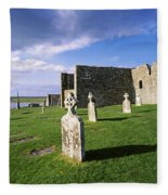 Cemetery In Front Of A Monastery Fleece Blanket