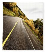 Center Lines Along A Paved Road In Autumn Fleece Blanket