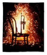 Chair And Horn With Fireworks Fleece Blanket