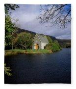 Chapel At Gougane Barra, Co Cork Fleece Blanket