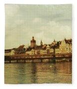 Chapel Bridge Lucerne Switzerland Fleece Blanket