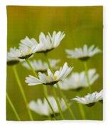 Cheerful Daisy Wildflowers Blowing In The Wind Fleece Blanket