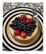 Cheese Cake On Black And White Plate Fleece Blanket