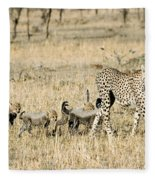 Cheetah Mother And Cubs Fleece Blanket