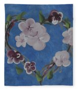 Cherry Blossom Heart Fleece Blanket
