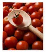 Cherry Tomatoes And Wooden Spoon Fleece Blanket