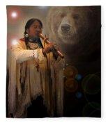 Cheyenne  Flute  Musician Fleece Blanket