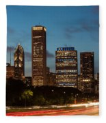 Chicago Business District At Dusk Fleece Blanket