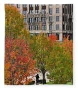 Chicago In Autumn Fleece Blanket