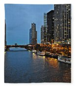 Chicago River At Twilight Fleece Blanket