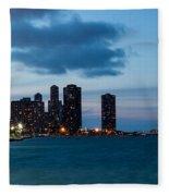 Chicago Skyline And Navy Pier At Dusk Fleece Blanket