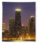 Chicago Skyscrapers With John Hancock Fleece Blanket