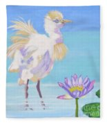 Chick And  Water Lily Fleece Blanket