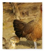 Chicken And Chicks Fleece Blanket