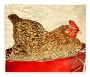 Chicken Hen Painting Art Print Fleece Blanket