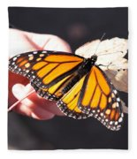 Child With Butterfly Fleece Blanket