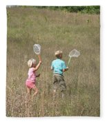 Children Collecting Insects Fleece Blanket