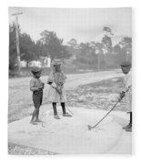 Children Playing Golf Fleece Blanket