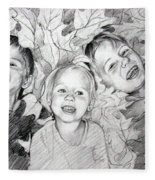 Children Playing In The Fallen Leaves Fleece Blanket