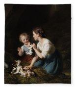 Children With Kitten Fleece Blanket