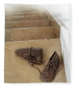 Child's Shoes By Stairs Fleece Blanket