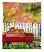 Chilrens Art-boy And Girl With Wagon And Puppies Fleece Blanket